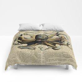 Book Art Octopus Color Comforters