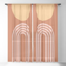 Geometric Lines in Rose Gold Terracotta 2 (Rainbow and Sun Abstract) Sheer Curtain