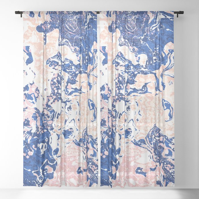 Abstract Marble Sheer Curtain
