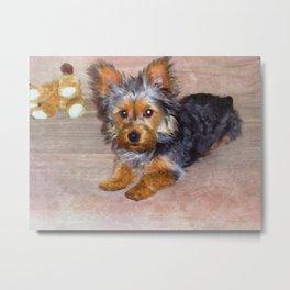 Silky Terrier Puppy - rendered as watercolor Metal Print