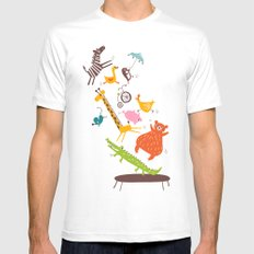 trampolinists SMALL White Mens Fitted Tee