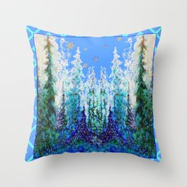 Western  Blue Modern Art Mountain Blue Winter Trees  Art Throw Pillow