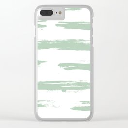 Swipe Stripe Pastel Cactus Green and White Clear iPhone Case