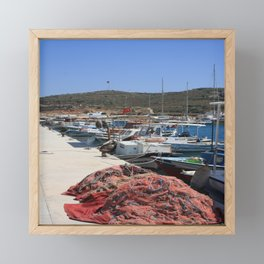 Red Fishing Net and Fishing Boats in Datca Framed Mini Art Print