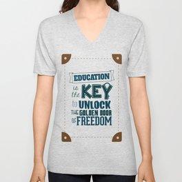 Lab No. 4 Education Is the Key George Washington Carver Inspirationa Quote Unisex V-Neck