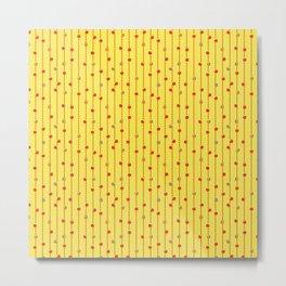 Christmas Baubles on Festive Tinsel Streamers Sunshine Yellow Metal Print
