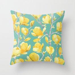 Yellow Magnolia Spring Bloom Throw Pillow