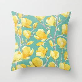 Yellow Magnolia Spring Bloom Throw Pillow