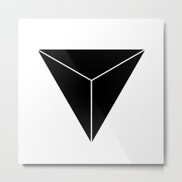 Geometric Pyramids Black & White Metal Print