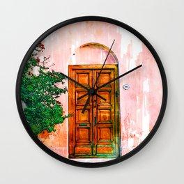 Wooden Door Pink Wall - For Doors & Travel Lovers Wall Clock