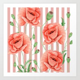 Poppies Dusty Pink Stripes Art Print