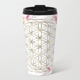 Flower of Life Rose Garden Gold Metal Travel Mug