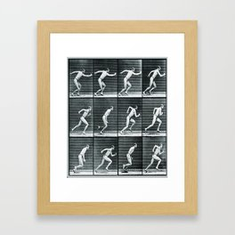 Time Lapse Motion Study Man Running Study Photography Pop Art Vintage Human Men Framed Art Print