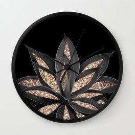 Gray Black Agave with Gold Glitter #1 #shiny #tropical #decor #art #society6 Wall Clock