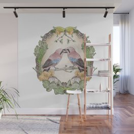 Watercolor Woodland Birds Jays in a Forest Plants , Blackberries Ivy and Fungi Mushroom Frame Wall Mural
