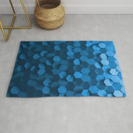 Blue hexagon abstract pattern Rug
