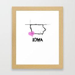 Love Iowa State Sketch USA Black Art Tees Framed Art Print