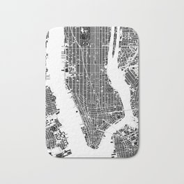 New York city map black and white Bath Mat