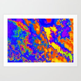 Cool Orange Yellow and Blue Lava Like Abstract Design (Clouds Series #2 - Abstract45) Art Print