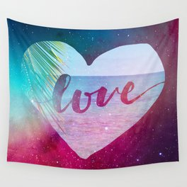 Beach Space Love Watercolor Collage Wall Tapestry