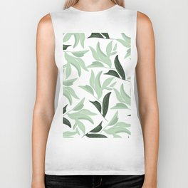 Abstract modern green pastel color leaves floral Biker Tank