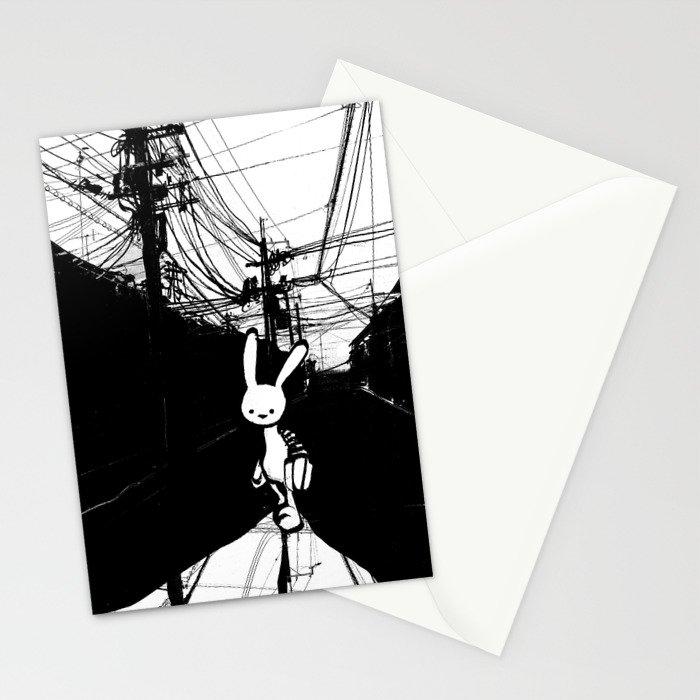 minima - beta bunny / noir Stationery Cards