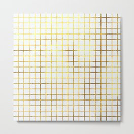 White & Gold Grid Metal Print