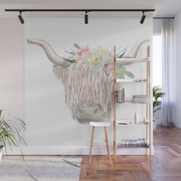 Highland Cow with Floral Crown Wall Mural