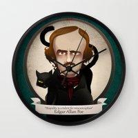 edgar allan poe Wall Clocks featuring Edgar Allan Poe said... by Mrs Peggotty