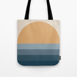 Minimal Retro Sunset / Sunrise - Ocean Blue Tote Bag