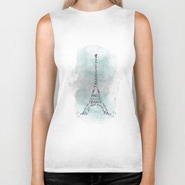 Watercolor Art Eiffel Tower | turquoise Biker Tank