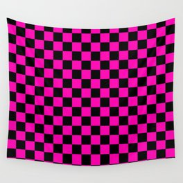 Large Hot Neon Pink and Black Racing Car Check Wall Tapestry