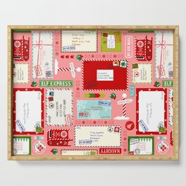 Kids Letters to Santa l Christmas Pattern - Pink Serving Tray
