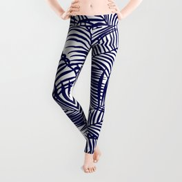 Modern blue tropical palm trees pattern Leggings