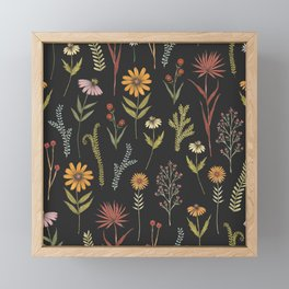 flat lay floral pattern on a dark background Framed Mini Art Print