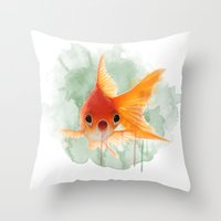 goldfish Throw Pillows featuring Goldfish by Sarah Sutherland