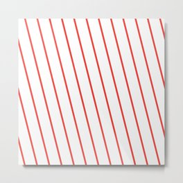 Yacht style. Red diagonal stripes. Metal Print