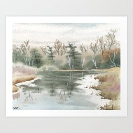 Briars Golf Course Bridge, Dec 30,2015 Art Print