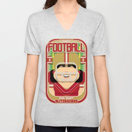 American Football Red and Gold -  Hail-Mary Blitzsacker - Amy version Unisex V-Neck