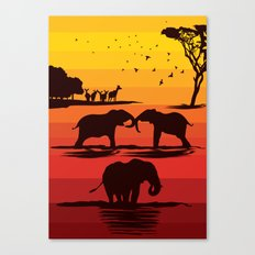 Elephant evening Canvas Print