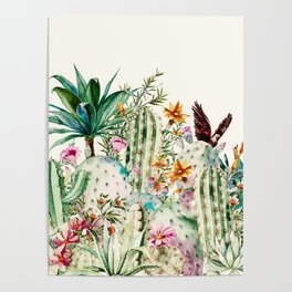 Blooming in the cactus Poster