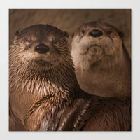 otters Canvas Prints featuring River Otters by Joshua Arlington