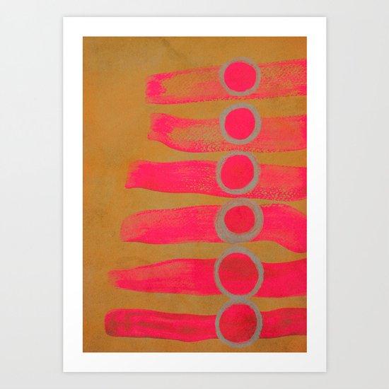 circles and stripes - furious red Art Print