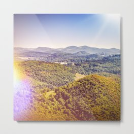 French countryside rolling landscape hill scenic view with bright sunlight Metal Print