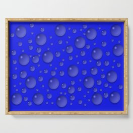 Water drops - Blue Serving Tray