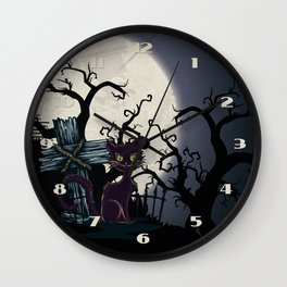 Vintage Halloween Cemetery Cat Wall Clock