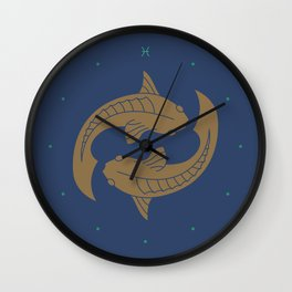 Pisces Zodiac / Fish Star Sign Poster Wall Clock