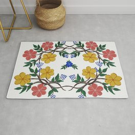 Yellow and Coral Spring Floral Wreath Rug