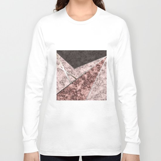 Marble . Combined abstract pattern . Long Sleeve T-shirt