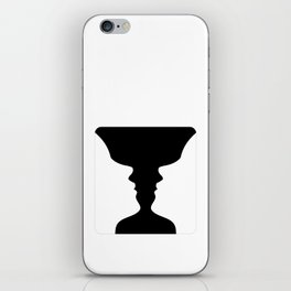 Two faces side by side- illusion of a vase also called Rubins vase iPhone Skin